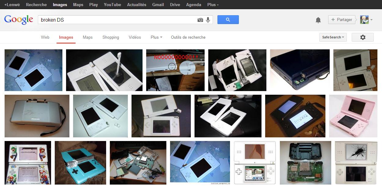Recherche Google d'images de Nintendo DS cassées